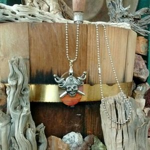 Other - Natural Ocean Jasper silver pirate necklace